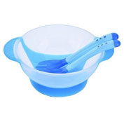 Hjuns Baby Training Bowl with Soft Silicone Sucker Bottom + Temperature Sensing Feeding Spoons and Fork