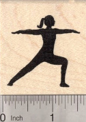 Warrior Pose Rubber Stamp, Yoga Asana, Virabhadrasana II
