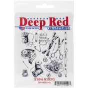 Deep Red Stamps Sewing Notions Background Rubber Stamp