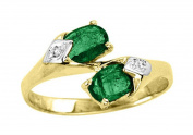 Diamond & Emerald Ring 14K Yellow Gold Promise Birthstone Ring
