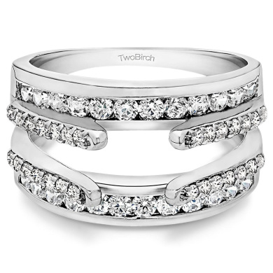 0.49 ct. White Sapphire Combination Cathedral and Classic Ring Guard in 10k White Gold (1/2 ct. twt.) (Size 3 to 15 in 1/4 Size Intervals)