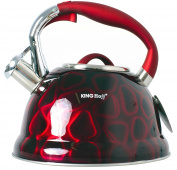 Stainless Steel Kettle with 3D Effect, 2.7 Litre Induction Red