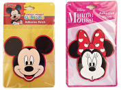 Disney Mickey Mouse and Minnie Mouse Head Shaped 3D Adhesive Patch Set of 2 Sticker Patches