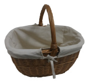 Lined Wicker Willow Cookery Shopping Basket