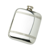 Edwin Blyde & Co Spirit Flask - Plain Pocket Design with Traditional Celtic Wire And Soft Corner Shape, 180ml, Pewter