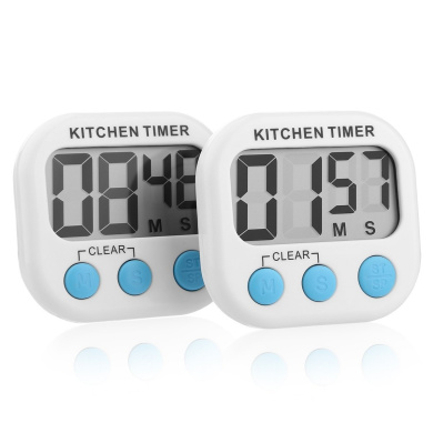 2 X Magnetic Large LCD Display Digital Kitchen Cooking Timer Alarm Count UP Down Clock with Hanger & Folding Stand
