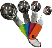 Rammento Set of 4 Stainless Steel Measuring Spoons Set With Silicone Handles Colour coded Easy Grip Handles