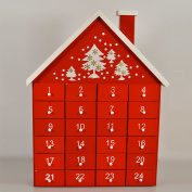 Gisela Graham Wooden Christmas Red Advent Calendar House with Individual Drawers by Gisela Graham