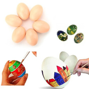 Pizies 6 Pcs Wooden Faux Fake Eggs, Children Play Kitchen Game Food Toy