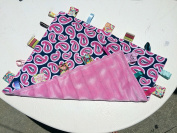 Oh So Soft ~ Pink PAISLEY Cuddle Blanket with Ribbon Tabs