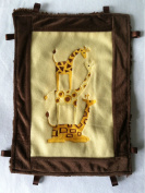 Happy GIRAFFE Security Blanket ~ Cuddle Trim with Ribbon Tabs