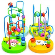 Baby Wooden Toy Mini Around Beads Wire Maze Educational Game Bauble