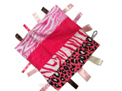 Hot Pink & Black ~ Animal Print Blanket with Ribbon Tabs