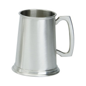 Edwin Blyde & Co 1 Pint Tankard with Solid Metal Base - Two Lined Body with Traditional Standard handle - Satin Finish, Pewter