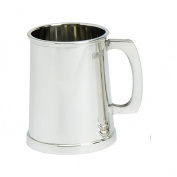 Edwin Blyde & Co Charles 11 Style with touch Marks 1 Pint Tankard with Solid Metal Base - All Over Polished Finish, Pewter