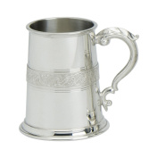 Edwin Blyde & Co 1 Pint Tankard with Solid Metal Base - Celtic Serpent Wire On Body with Traditional Georgian handle, Pewter