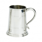 Edwin Blyde & Co Wells Style 1 Pint Tankard with Solid Metal Base - Plain, Two lines on Body with Swan handle - All Over Polished Finish, Pewter