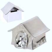 Personalised Silver Plated Dog Kennel Money Box Engraved Gift