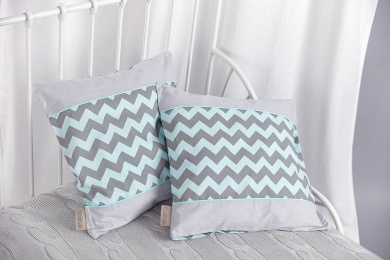Universal Kraft Kids Pillow Cover Chevron Grey and Mint and Grey