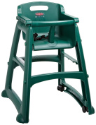 Rubbermaid Commercial Sturdy Chair Youth Seat High Chair with Wheels, Dark Green, FG780508DGRN