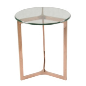 New Pacific Direct 6000007-RG 23.5 x 50cm x 50cm . Monza Round End Table Glass Top Rose Gold