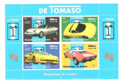 Classic Car Stamps for Collectors - De Tomaso sports cars - 4 mint stamps - never mounted and never hinged