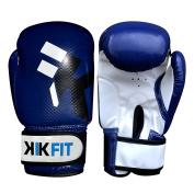 KIK FIT Blue Kids Boxing Gloves Junior Punch Bag Leather Glove ,Kids MMA Training