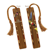 Ruby-throated Hummingbird - Bird - Wooden Bookmark with Tassel