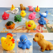 Lowpricenice(TM) Lovely One Dozen 13pcs Different Rubber Animals With Sound Baby Shower Party Favours Toy