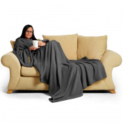 Snug Rug Deluxe Coral Fleece The Adult Blanket with Sleeves, Slate Grey, 60 x 84-Inch, 214 x 152 x 1 cm
