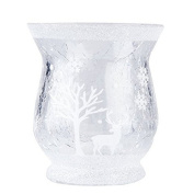 Small White Snow Scene Tea Light Holder