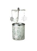 "Kerzenfarm ""Snowflake"" Rotary Carousel for Tealights, Metal and Glass, Silver, 16.5 cm High"