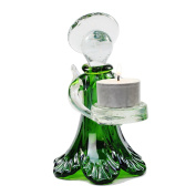 Glass Angel T-Light Holder 16cm (Green Pearlescent Finish) Complete with T-Light