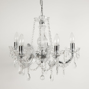 Marie Therese 5 Light Crystal Chandelier Ceiling Light with Chrome Trim