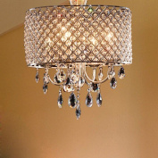 OOFAY LIGHT Modern Elegant 4 - Light Pendant Lights ,chandelier lgiht with Crystal Drops in round feather living room ,dining room , bedroom