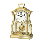 Rhythm CRP611WR18 Mantel Clock with Glass inset pendulum Gold finish