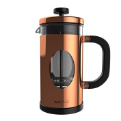 bonVIVO® GAZETARO I design cafetiere and French Press made of stainless steel and glass in copper finish with filters,