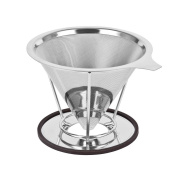 Yakamoz Stainless Steel Coffee Dripper, Reusable Double Layer Fine Mesh Pour Over Filter Cone with Stand
