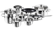 Kopf Josie Saucepan Set 14 Pieces Including 5 Glass Lids Suitable for Induction Cookers and Dishwashers) Stainless Steel