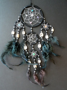 BLACK DREAM CATCHER dreamcatcher DECORATED WITH SILVER COLOURED BEADS AND FEATHERS BEAUTIFULLY HAND CRAFTED