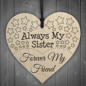 Red Ocean Always My Sister Forever My Friend Wooden Hanging Heart Best Sisters Plaque Gift