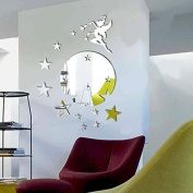 Walplus Mirror Wall Art Flying Fairy Tinker Bell with Stars Round Wall Stickers Removable Self-Adhesive Mural Decals Vinyl Home Decoration DIY Living Bedroom Décor Kids Room, Silver