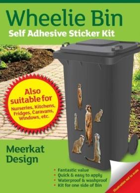 Wheelie Bin Self Adhesive Sticker Kit, Meerkats Design