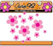 Pink Daisy Flower Stickers x26 - Car, Laptop, Windows