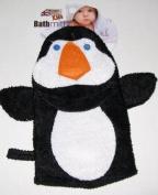London Bath & Beauty Kid's Bath Miitt Terry Cloth Bath Puppet / Wash Cloth / Bathmitt (Black - Penguin) by London Bath & Beauty