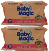 Baby Magic Gentle Baby Wipes, Refill or Travel Pack with 80 wipes (Pack of 2 - Total 160 Wipes) by Baby Magic