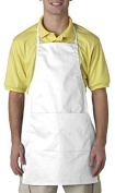 UltraClubAR Two-Pocket Adjustable Apron - White by UltraClub