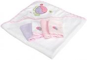 Spasilk 100% Cotton Hooded Terry Bath Towel with 4 Washcloths, Pink by Spasilk