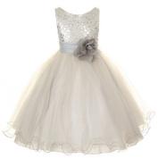 Kids Dream Silver Sequin Double Mesh Flower Dress Baby Girls 12M by Kids Dream