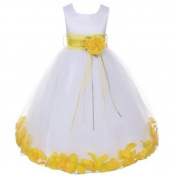 Kids Dream White Satin Yellow Petal Flower Girl Dress Girl 18M by Kids Dream
